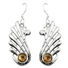 Clearance Sale- Brown smoky topaz 925 sterling silver dangle earrings jewelry d27942