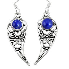 Clearance Sale- Natural blue lapis lazuli 925 sterling silver dangle earrings d27972