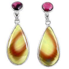 925 silver natural green imperial jasper red garnet dangle earrings d27980