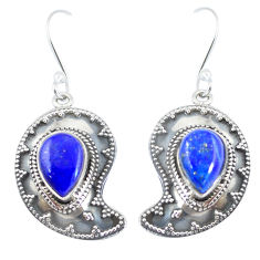 Natural blue lapis lazuli 925 sterling silver dangle earrings d29367