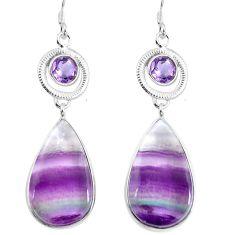 Natural multi color fluorite amethyst 925 silver dangle earrings d29386