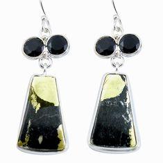 Golden pyrite in magnetite (healer's gold) 925 silver dangle earrings d29387