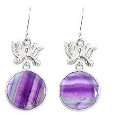 Natural multi color fluorite 925 silver love birds earrings jewelry d29395