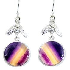 Natural multi color fluorite 925 silver honey bee earrings jewelry d29408