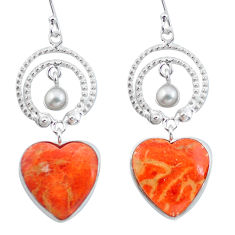 Clearance Sale- Red copper turquoise pearl 925 silver heart love earrings jewelry d29420
