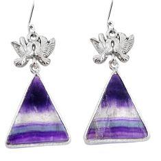 Natural multi color fluorite 925 silver love birds earrings jewelry d29429