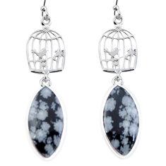 Natural black australian obsidian 925 silver dangle cage charm earrings d29440