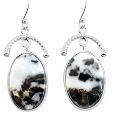 Natural white zebra jasper 925 sterling silver dangle earrings d29453
