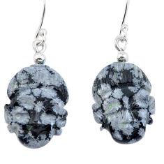Natural black australian obsidian 925 silver buddha charm earrings d29470