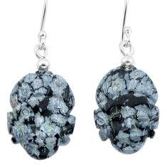 Clearance Sale- Natural black australian obsidian 925 silver buddha charm earrings d29472