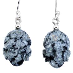 Clearance Sale- 925 silver natural black australian obsidian buddha charm earrings d29473