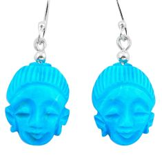 Blue sleeping beauty turquoise 925 silver buddha charm earrings d29475