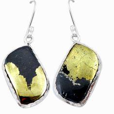 Natural golden pyrite in magnetite (healer's gold) 925 silver earrings d29480