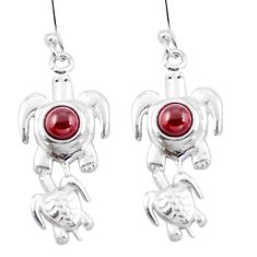 Natural red garnet 925 sterling silver turtle charm earrings jewelry d29485