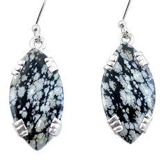 Natural black australian obsidian 925 sterling silver earrings d29493