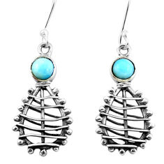 Clearance Sale- 925 sterling silver natural blue larimar dangle earrings jewelry d29504