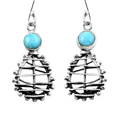 Clearance Sale- Natural blue larimar 925 sterling silver dangle earrings jewelry d29506
