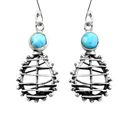 Clearance Sale- Natural blue larimar 925 sterling silver dangle earrings jewelry d29512