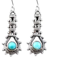 Natural blue larimar 925 sterling silver dangle earrings jewelry d29515