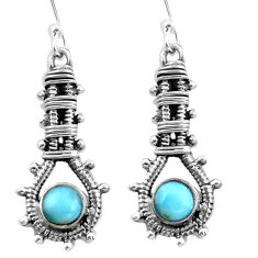 Clearance Sale- Natural blue larimar 925 sterling silver dangle earrings jewelry d29517