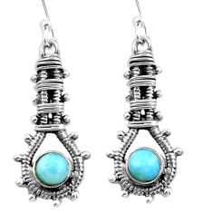 Natural blue larimar 925 sterling silver dangle earrings jewelry d29520