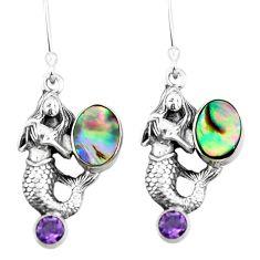Clearance Sale- Natural green abalone paua seashell 925 silver fairy mermaid earrings d29521