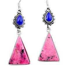 Clearance Sale- Natural pink rhodonite in black manganese 925 silver dangle earrings d29526