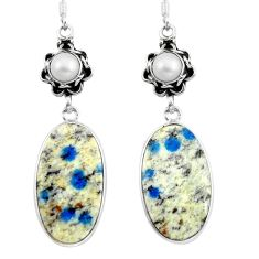 925 silver natural k2 blue (azurite in quartz) dangle earrings jewelry d29528