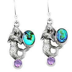 Natural green abalone paua seashell 925 silver fairy mermaid earrings d29534