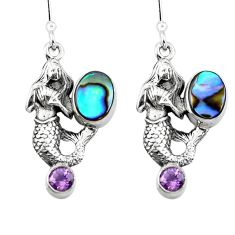 Clearance Sale- Natural green abalone paua seashell 925 silver fairy mermaid earrings d29535