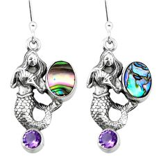 Clearance Sale- 925 silver natural green abalone paua seashell fairy mermaid earrings d29538
