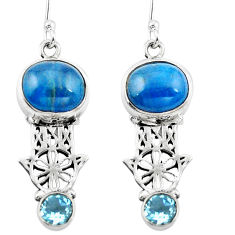 Natural blue apatite (madagascar) 925 silver hand of god hamsa earrings d29541