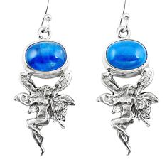 Clearance Sale- Natural blue apatite (madagascar) 925 silver angel wings fairy earrings d29542