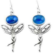 Clearance Sale- Natural blue apatite (madagascar) 925 silver angel wings fairy earrings d29543