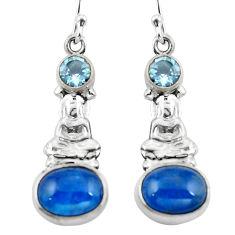 Clearance Sale- Natural blue apatite (madagascar) 925 silver buddha charm earrings d29551