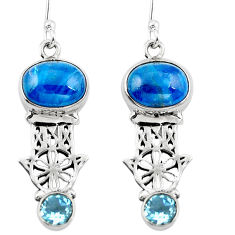 Natural blue apatite (madagascar) 925 silver hand of god hamsa earrings d29552