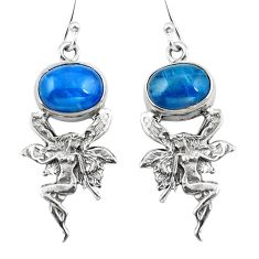 Natural blue apatite (madagascar) 925 silver angel wings fairy earrings d29556