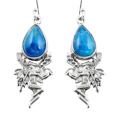 Natural blue apatite (madagascar) 925 silver angel wings fairy earrings d29558