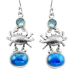 Clearance Sale- Natural blue apatite (madagascar) topaz 925 silver crab earrings d29561