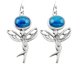Clearance Sale- Natural blue apatite (madagascar) 925 silver angel wings fairy earrings d29563