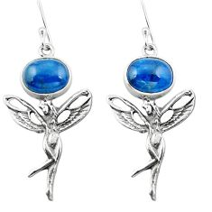 Clearance Sale- 925 silver natural blue apatite (madagascar) angel wings fairy earrings d29564