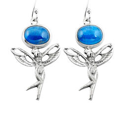 Clearance Sale- Natural blue apatite (madagascar) 925 silver angel wings fairy earrings d29566