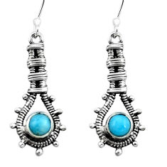 Clearance Sale- Natural blue larimar 925 sterling silver dangle earrings jewelry d29567