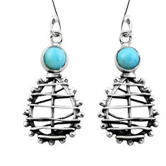 Clearance Sale- Natural blue larimar 925 sterling silver dangle earrings jewelry d29569