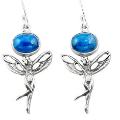 Clearance Sale- Natural blue apatite (madagascar) 925 silver angel wings fairy earrings d29574