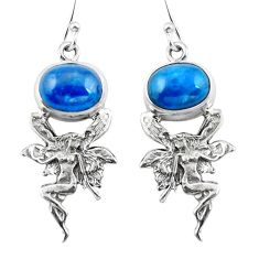 Clearance Sale- Natural blue apatite (madagascar) 925 silver angel wings fairy earrings d29575