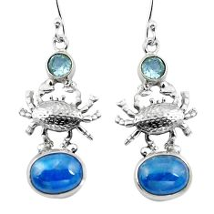 Clearance Sale- 925 silver natural blue apatite (madagascar) topaz crab earrings d29576