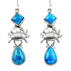 925 silver natural blue apatite (madagascar) crab earrings jewelry d29578