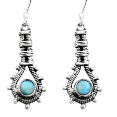 Clearance Sale- Natural blue larimar 925 sterling silver dangle earrings jewelry d29579