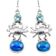 Clearance Sale- Natural blue apatite (madagascar) topaz 925 silver crab earrings d29580